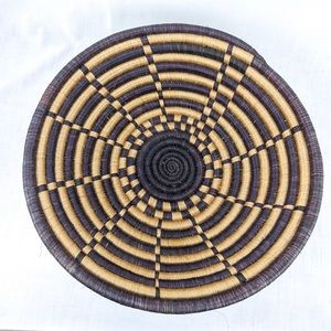 Thick Coiled Woven Basket With Pattern